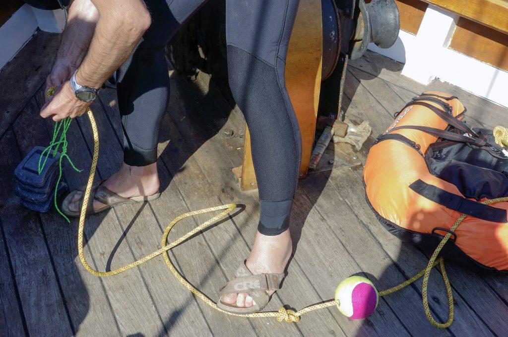 Préparation d'un atelier sur le bateau