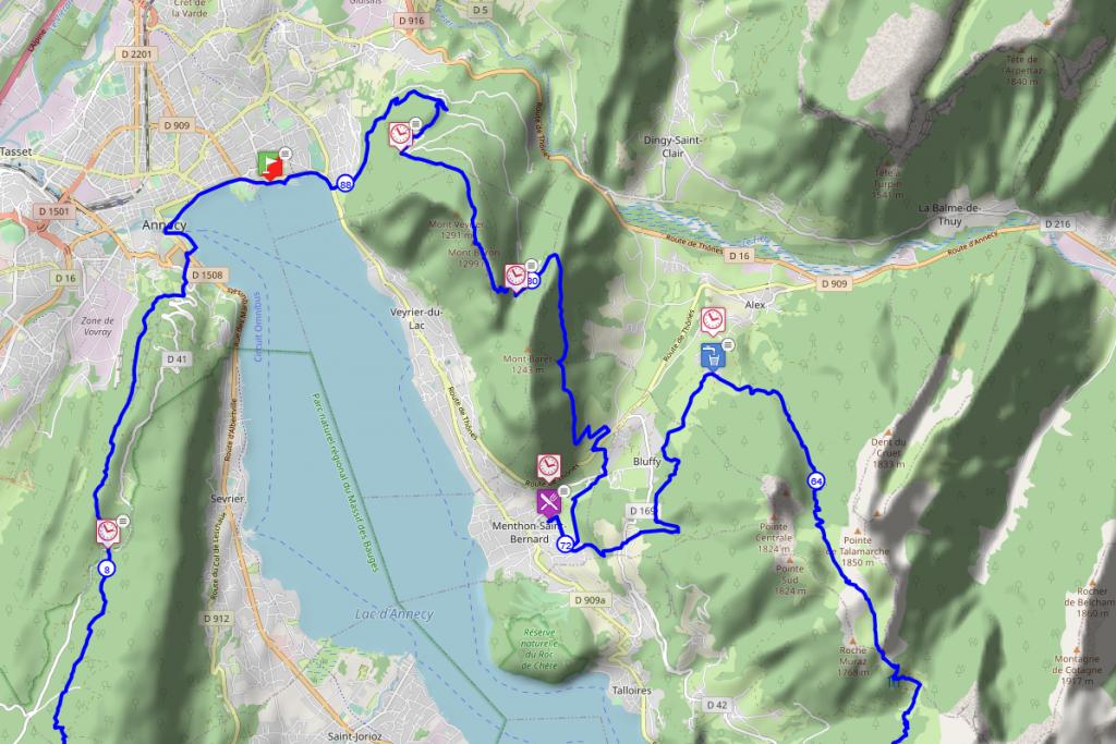 Parcours de la Maxi-Race - Du Roc Lancrenaz à Annecy